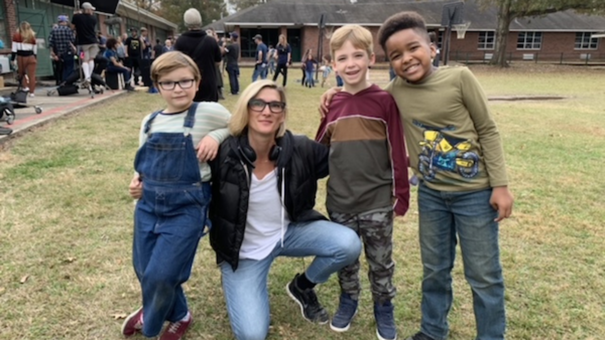 Cheryl Guerriero with Ryder Allen and the boys on set, Courtesy of Cheryl Guerriero
