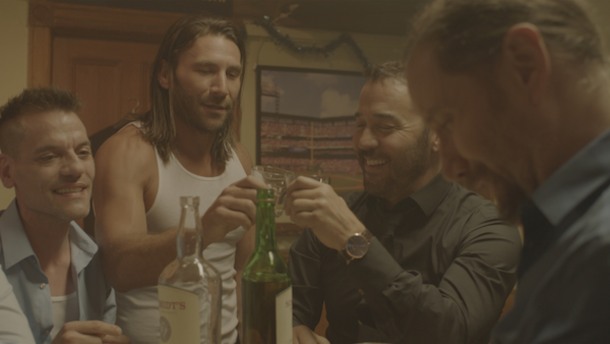 """Zach McGowan as """"Dougal"""" and Jeremy Piven as """"Mick"""" in Paolo Pilladi's LAST CALL. Courtesy of IFC Films. An IFC Films release."""
