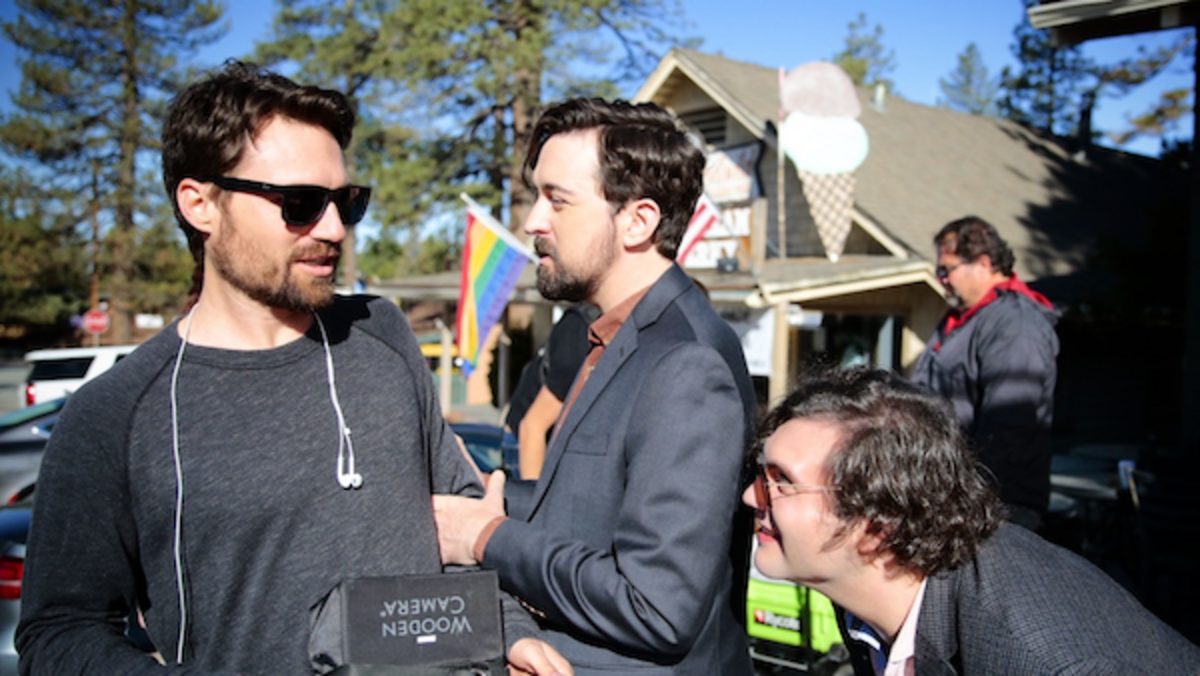 (L-R) Writer/Director Marshall Cook and Matt Cook (Logan) on-set of Film Fest, APS Films