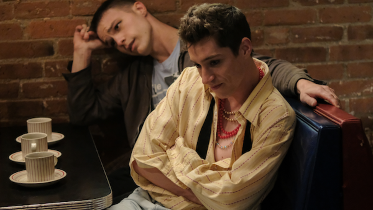 [L-R] Nick Krause as Billy and James Bloor as Patrick in the drama/comedy film, SHOPLIFTERS OF THE WORLD, a RLJE Films release. Photo courtesy of RLJE Films.