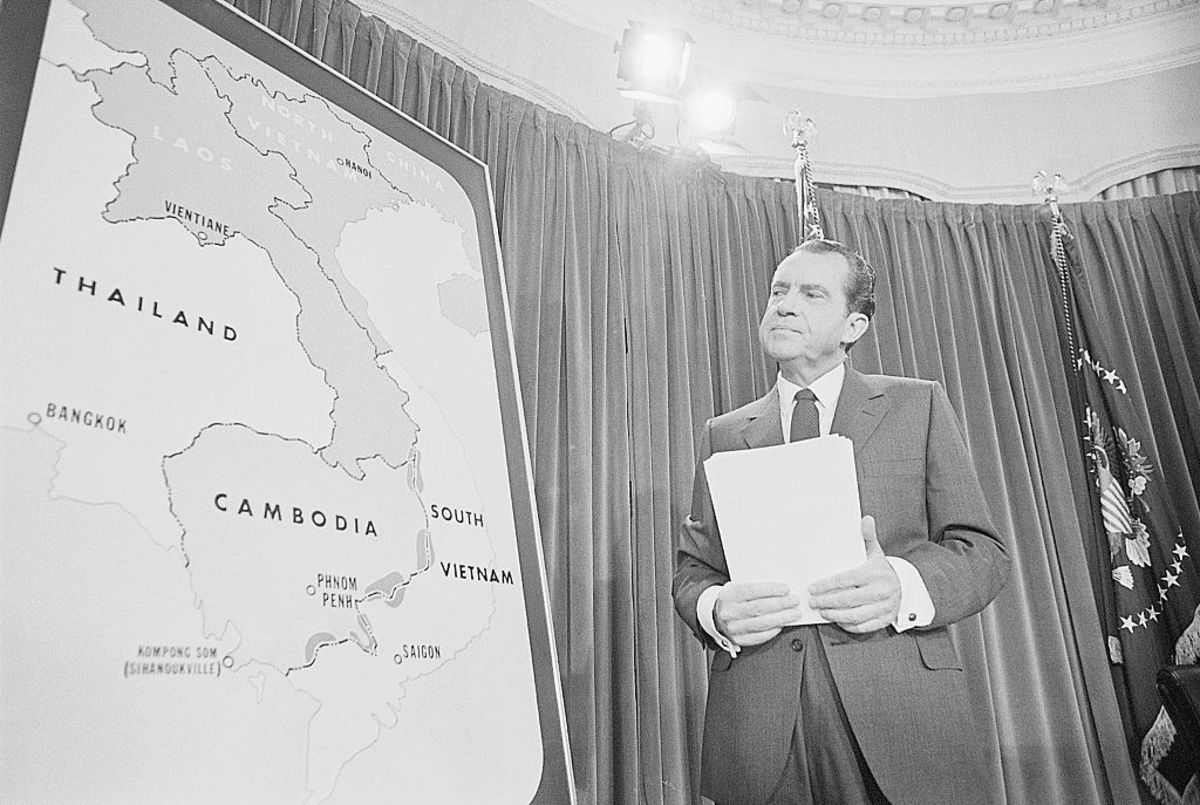 Richard Nixon during a nationwide broadcast - Getty Images