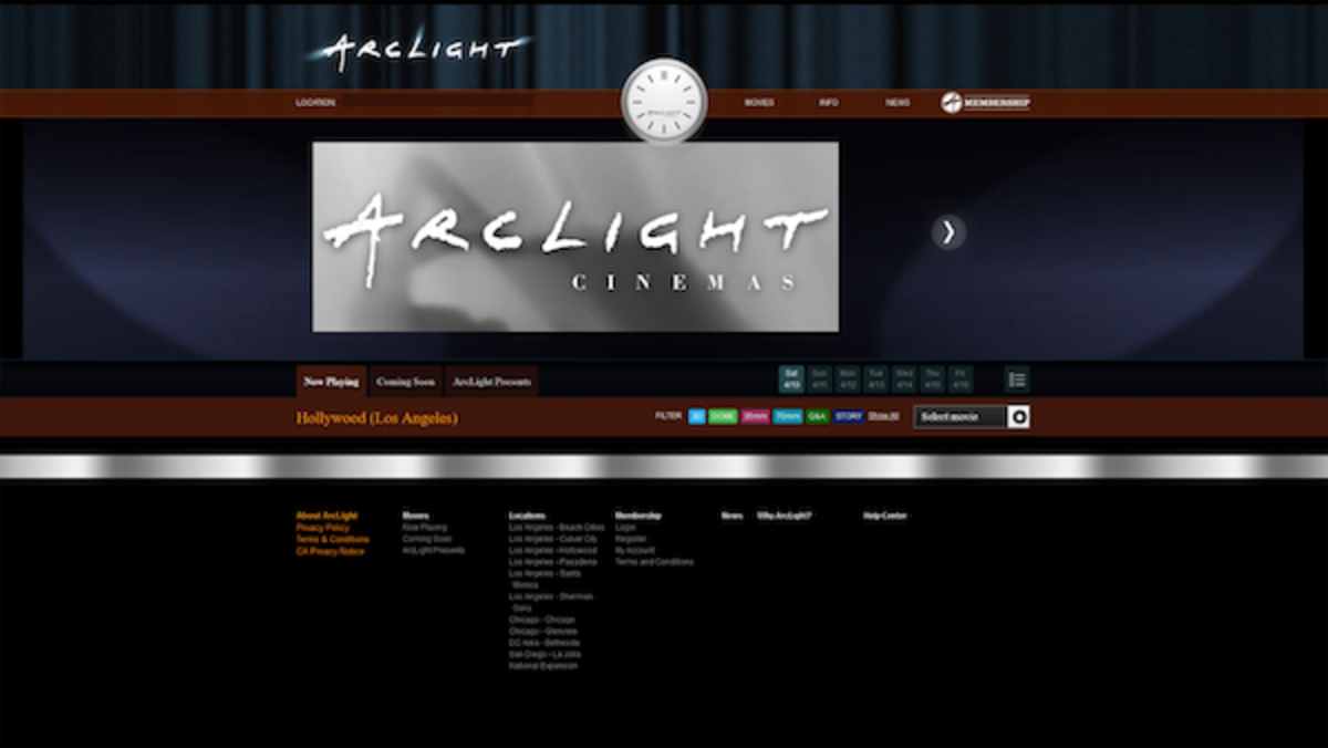 The Arclight website just before going dark.
