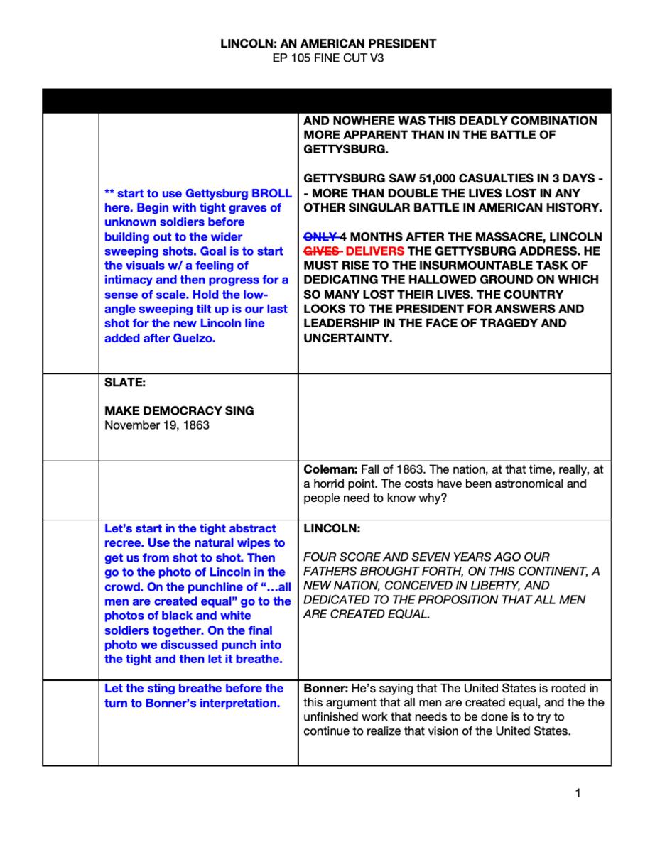 LINCOLN script sample. CourtesyGlass Entertainment Group