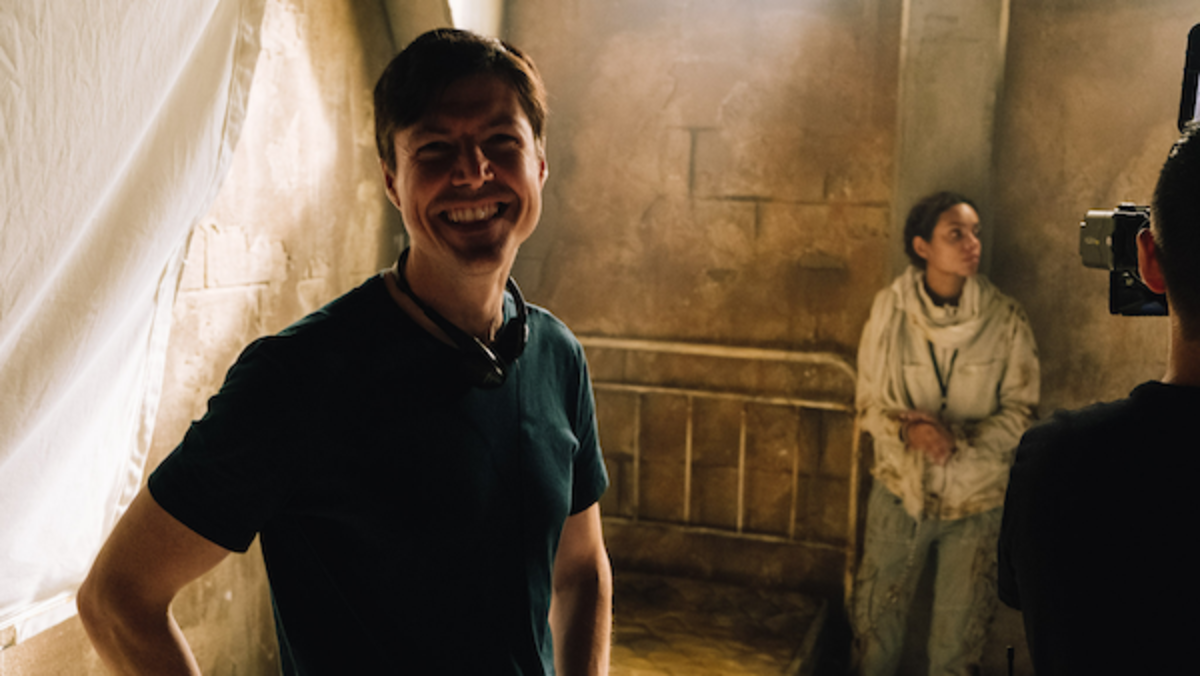 [L-R] Director, Jonathan W. Stokes and Georgina Campbell as Khadija Young behind the scenes of the thriller WILDCAT, a Saban Films release. Photo courtesy of Saban Films.