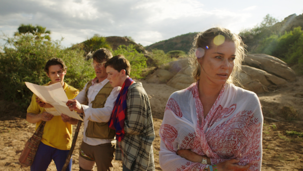 (L-R) Michael Johnston as Noah Halsey, Philip Winchester as Jack Halsey, Isabel Bassett as Zoe Halsey, and Rebecca Romijn as Lauren Halsey in the action thriller film, ENDANGERED SPECIES, a Lionsgate Release. Photo Courtesy of Lionsgate.
