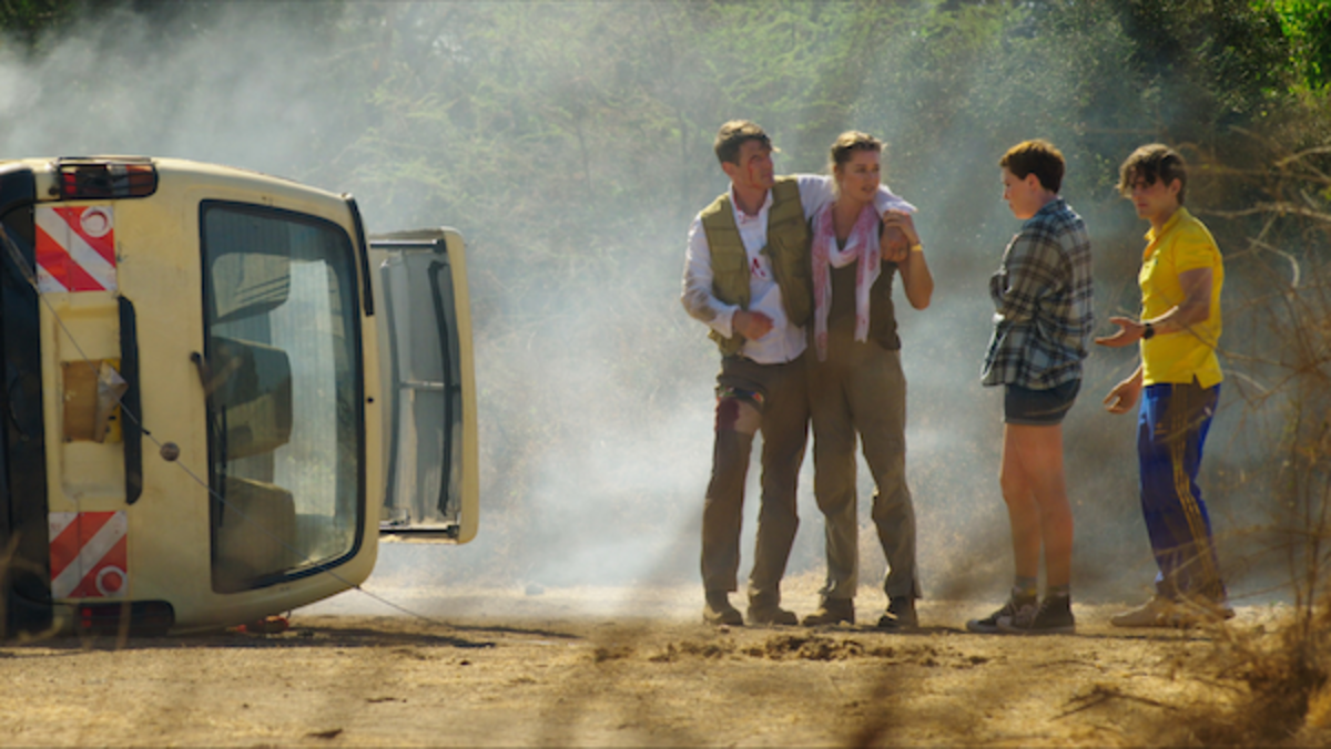 (L-R) Philip Winchester as Jack Halsey, Rebecca Romijn as Lauren Halsey, Isabel Bassett as Zoe Halsey, and Michael Johnston as Noah Halsey in the action thriller film, ENDANGERED SPECIES, a Lionsgate Release. Photo Courtesy of Lionsgate.