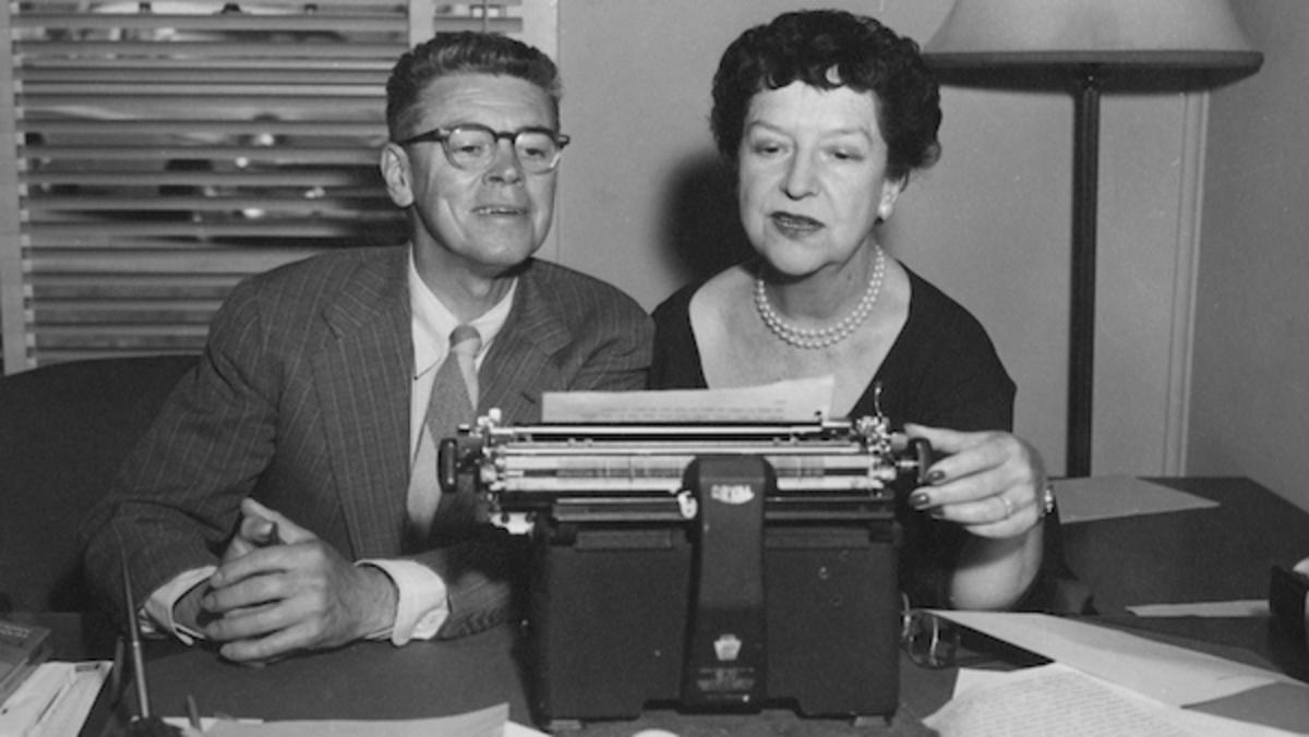 [L-R] Screenwriters Albert Hackett and Frances Goodrich Hackett