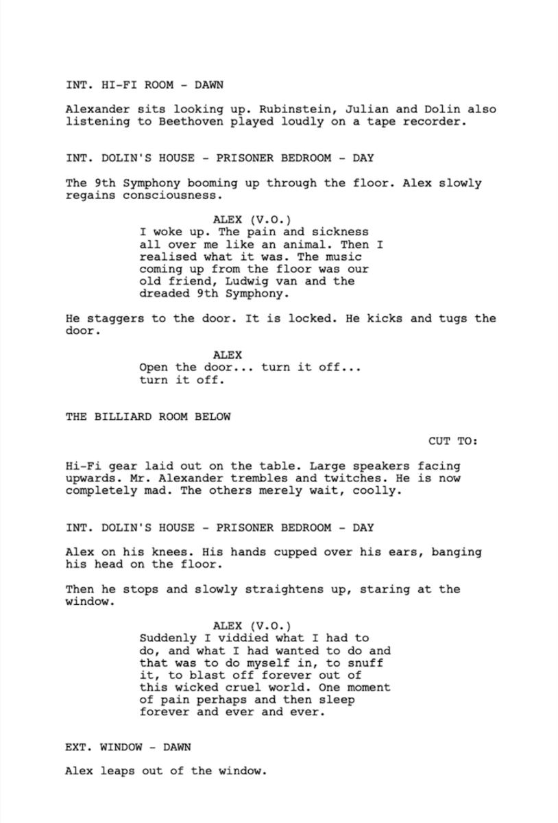 A Clockwork Orange, Screenplay Written by Stanley Kubrick