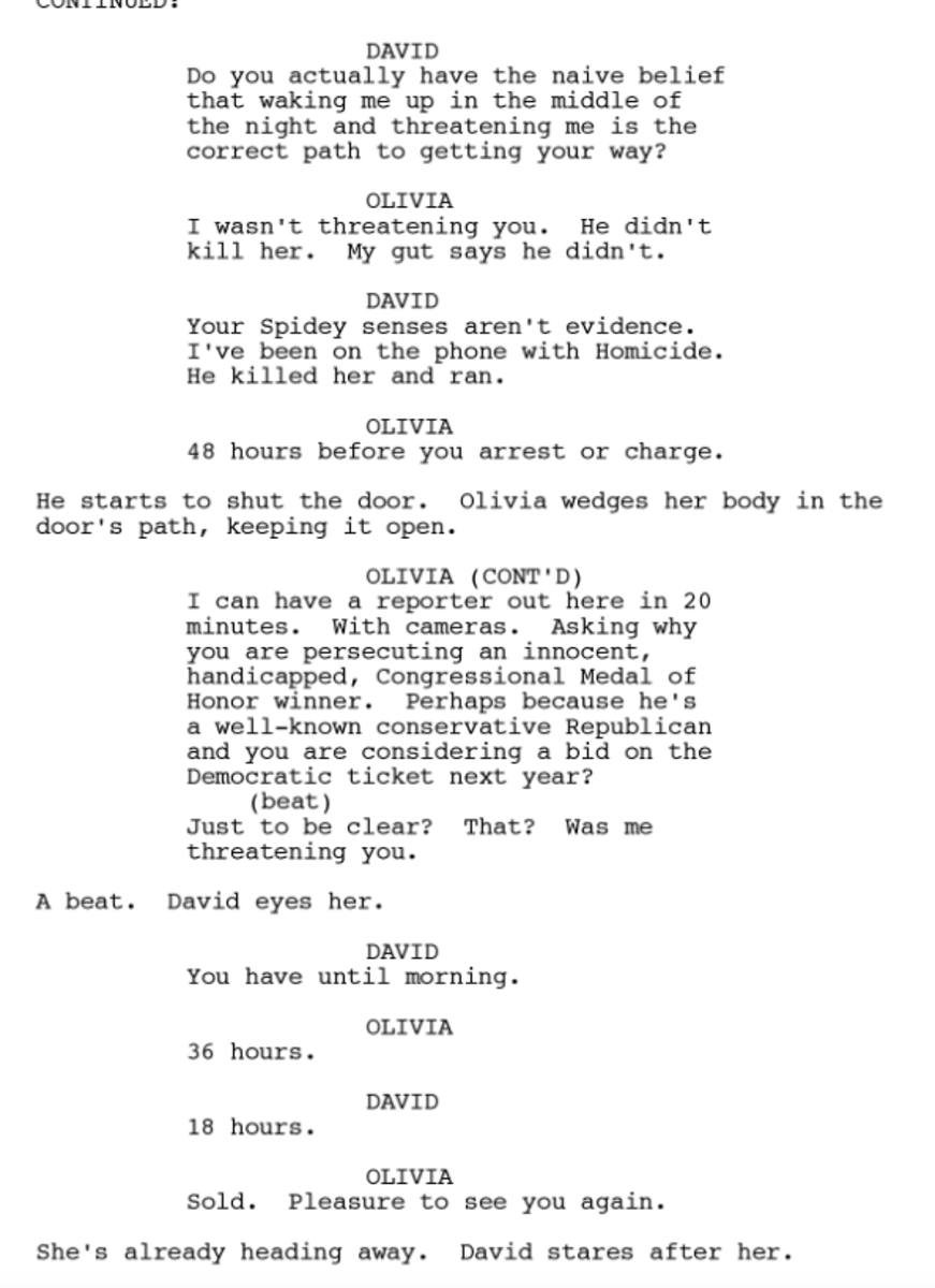 Example from Scandal script.