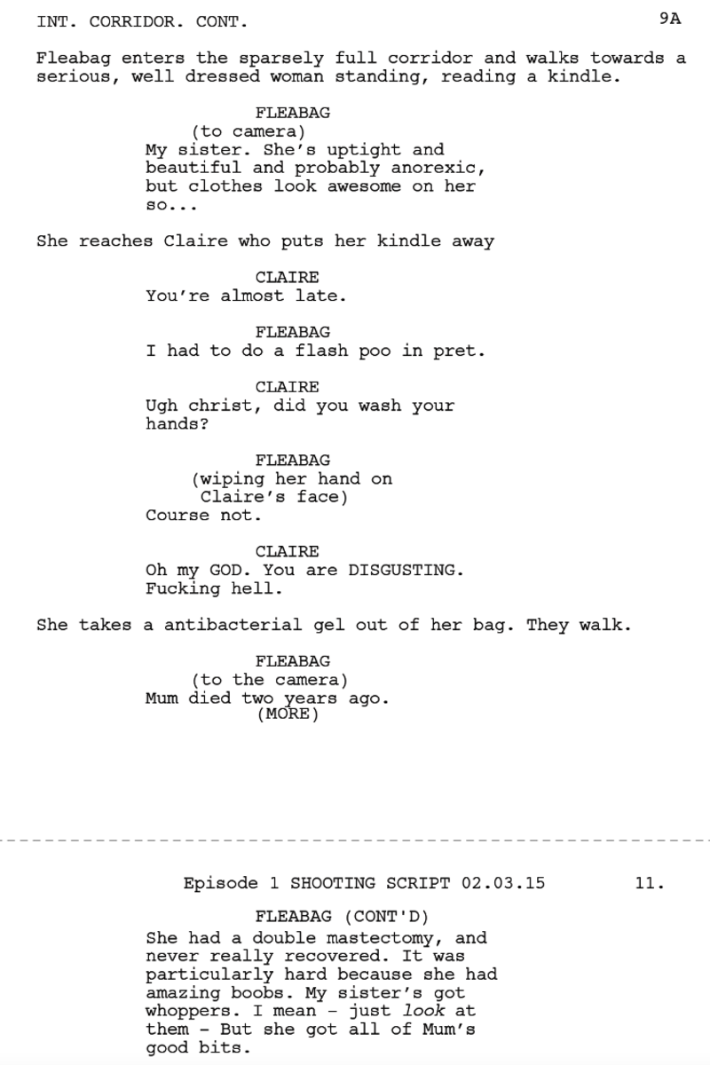 Example from Fleabag script.