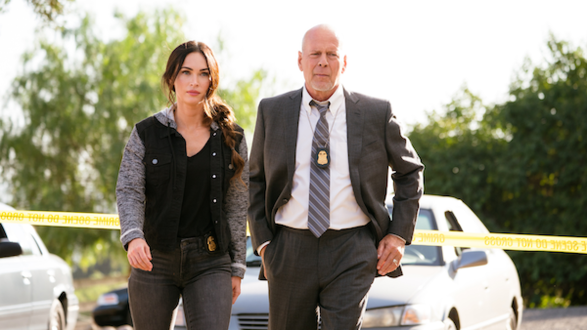 (L-R) Megan Fox as Rebecca Lombardi and Bruce Willis as Karl Helter in the thriller film, MIDNIGHT IN THE SWITCHGRASS, a Lionsgate release. Photo courtesy of Lionsgate.