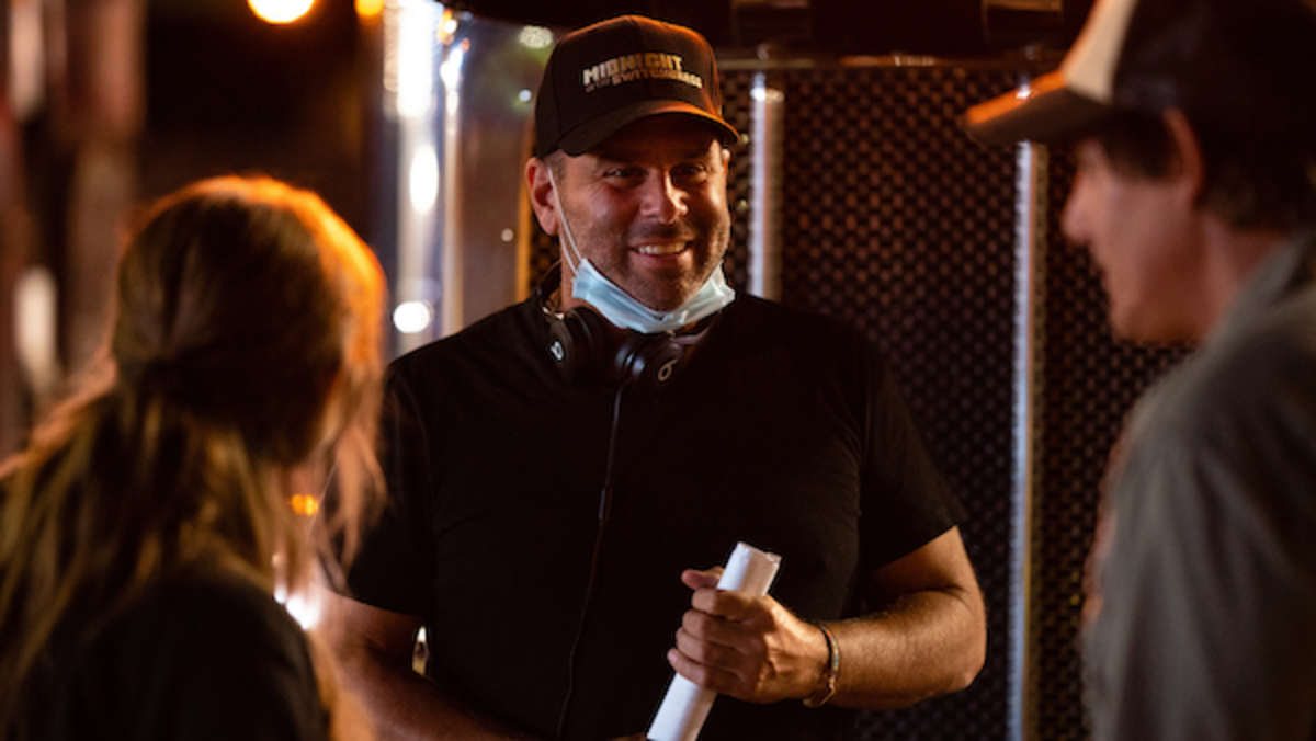 Director Randall Emmett on the set of the thriller film, MIDNIGHT IN THE SWITCHGRASS, a Lionsgate release. Photo courtesy of Lionsgate.