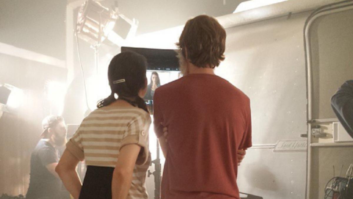 Lane and Ruckus Skye on set.