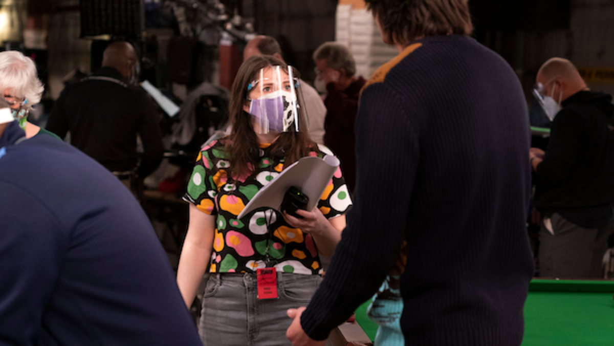 Ali Schouten on set of iCarly.Photo by Lisa Rose/Paramount+.