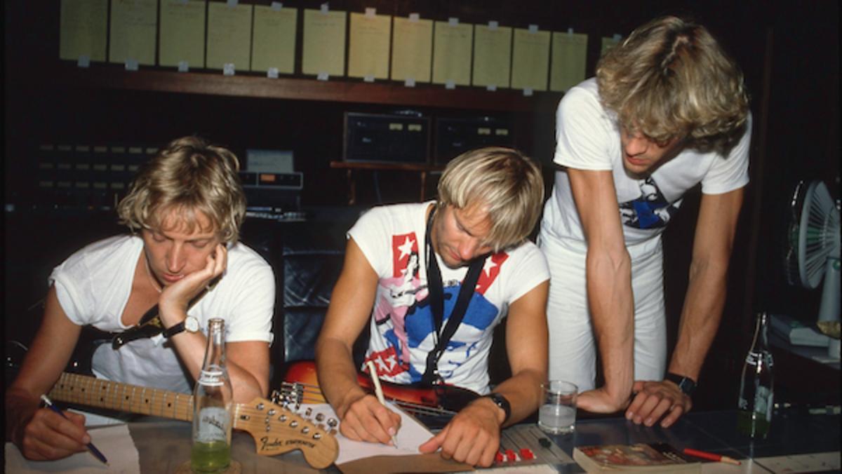 Andy Summers, Sting, Stewart Copeland at AIR Studios Montserrat © Danny Quatrochi  Photo Credit: Danny Quatrochi