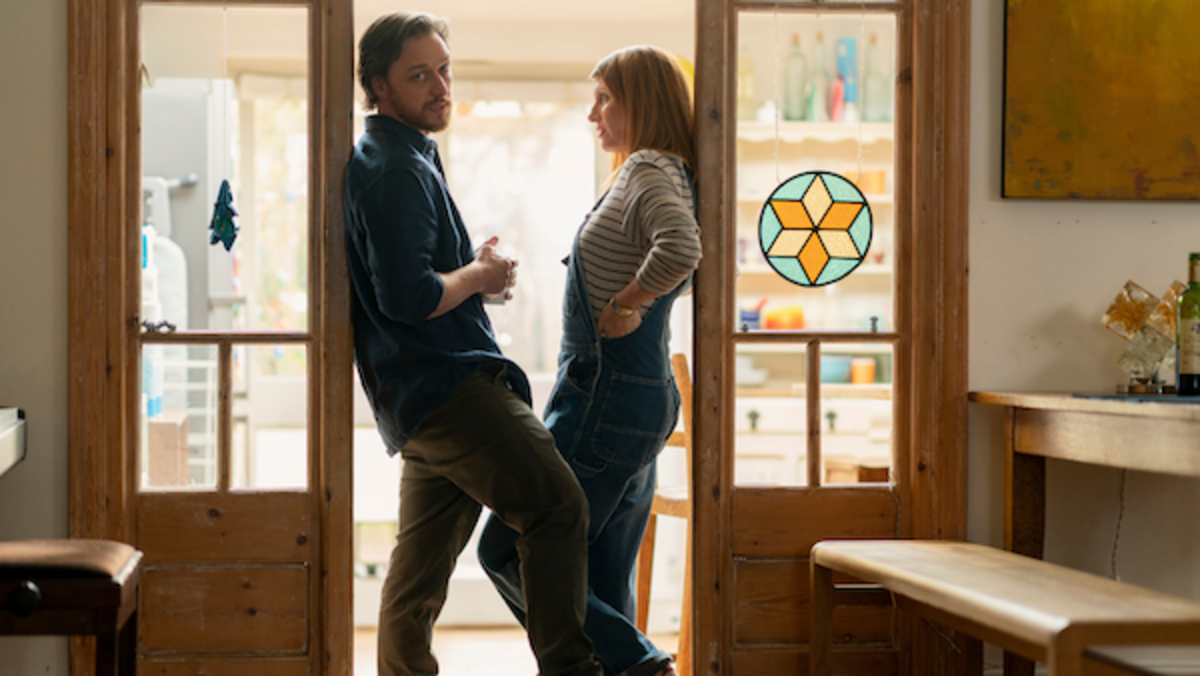 James McAvoy (left) and Sharon Horgan (right) star in Stephen Daldry's TOGETHER, a Bleecker Street release Credit: Peter Mountain