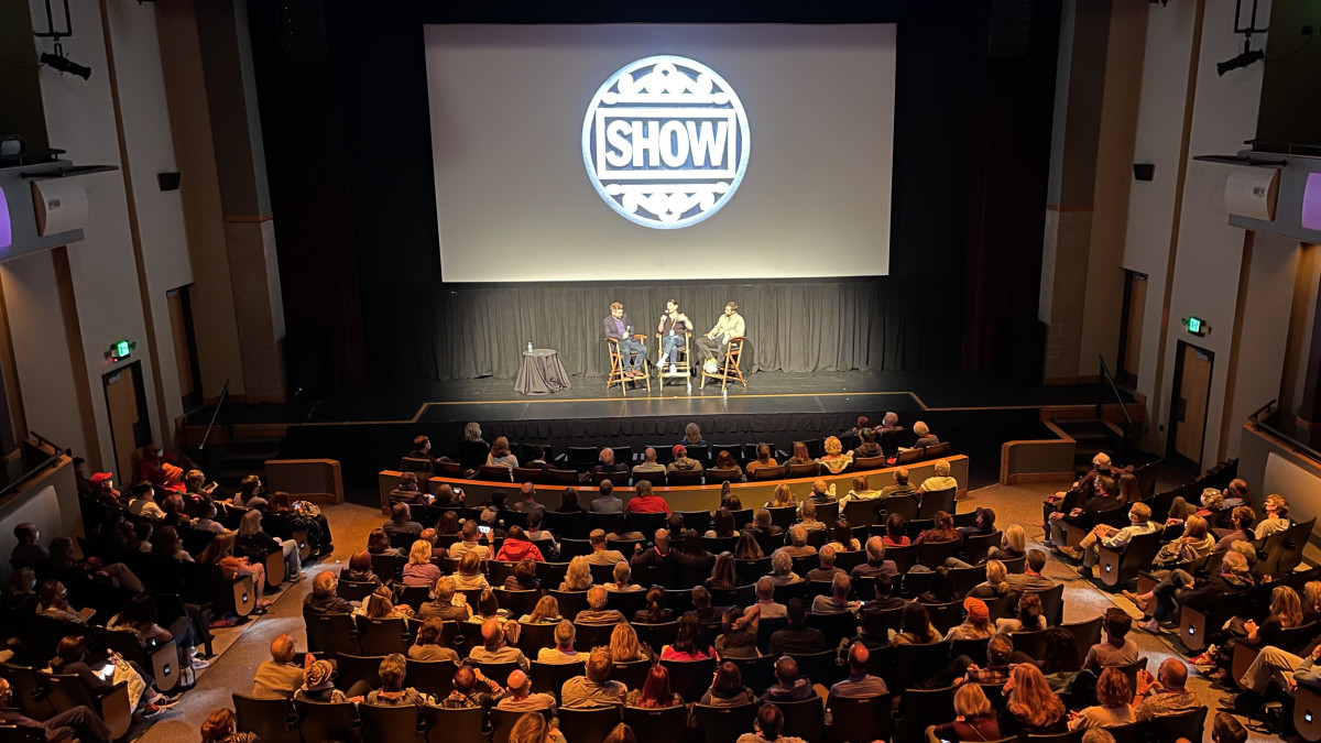 Kenneth Branagh and Jamie Dorman doing Q&As after a screening of BELFAST at the Telluride Film Festival. Photo by Christopher Schiller