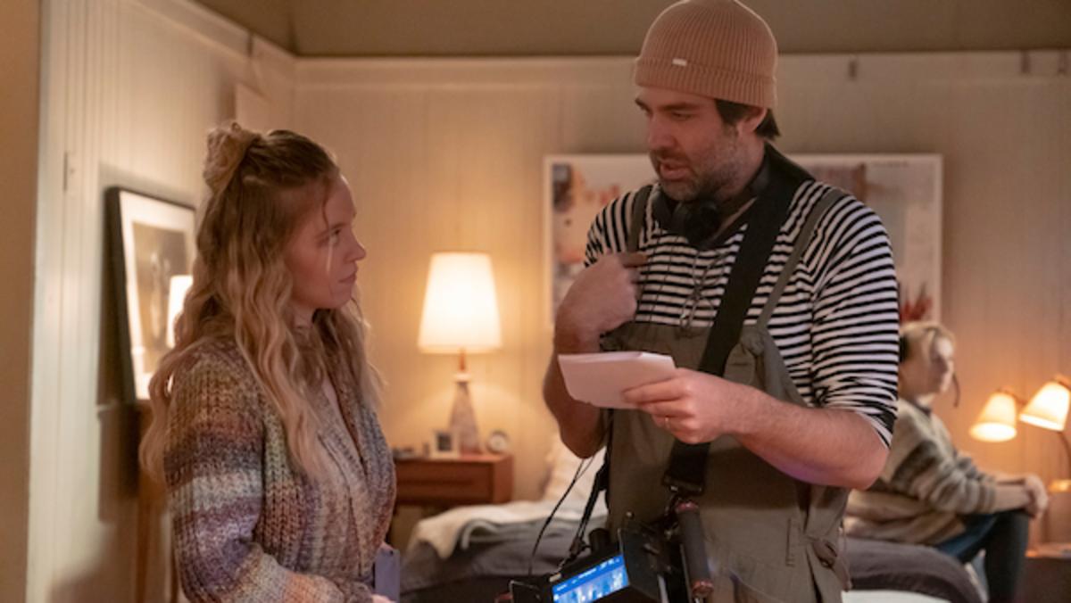 [L-R] Sydney Sweeney and Michael Mohan on set of The Voyeurs. Amazon Studios