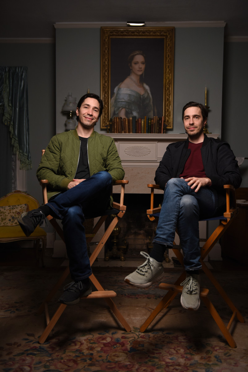 (L-R) Co-Directors and Co-Writers Justin Long and Christian Long behind the scenes of the comedy film, LADY OF THE MANOR, a Lionsgate release. Photo courtesy of Lionsgate.