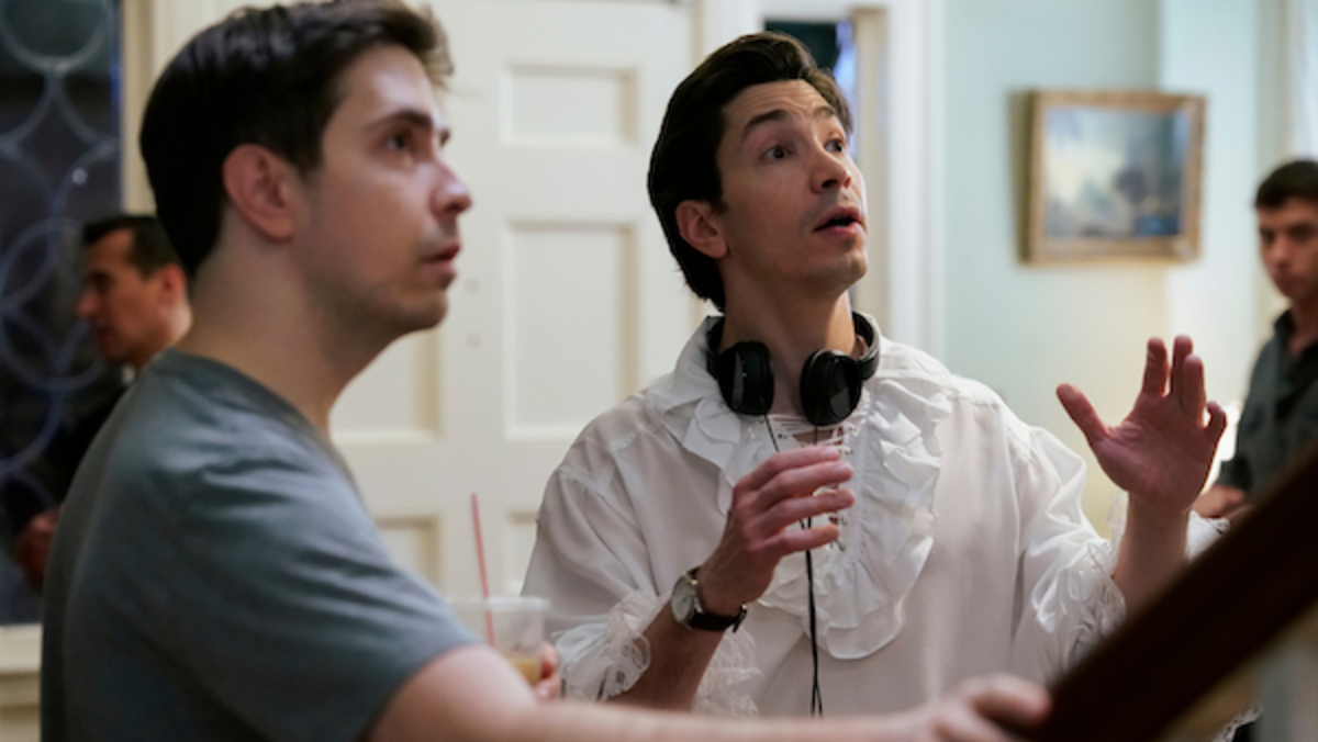 (L-R) Co-Directors and Co-Writers Christian Long and Justin Long behind the scenes of the comedy film, LADY OF THE MANOR, a Lionsgate release. Photo courtesy of Lionsgate.